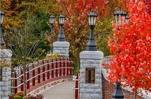 campus bridge during the fall