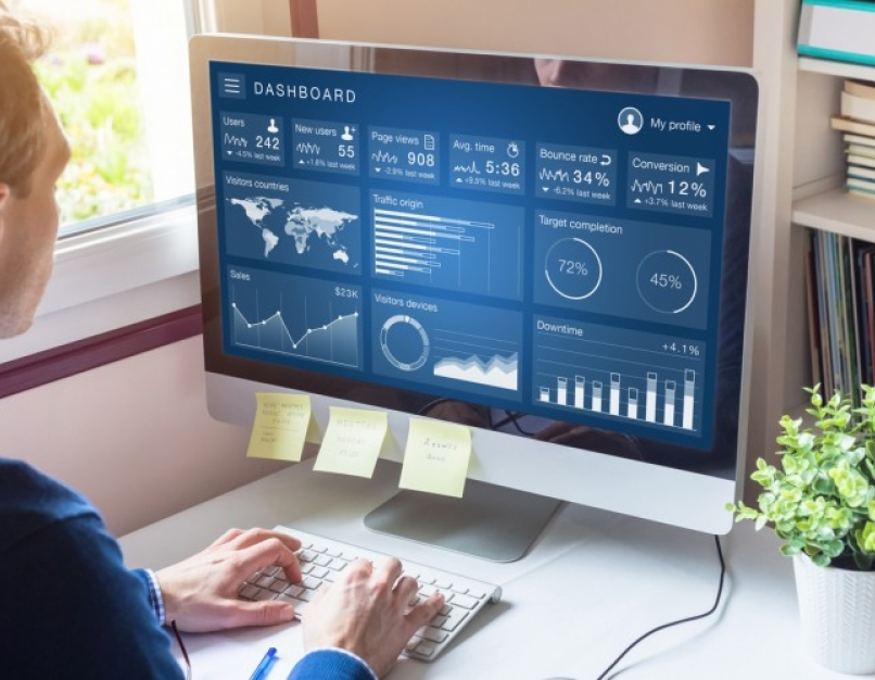A business analyst reviews data on a computer