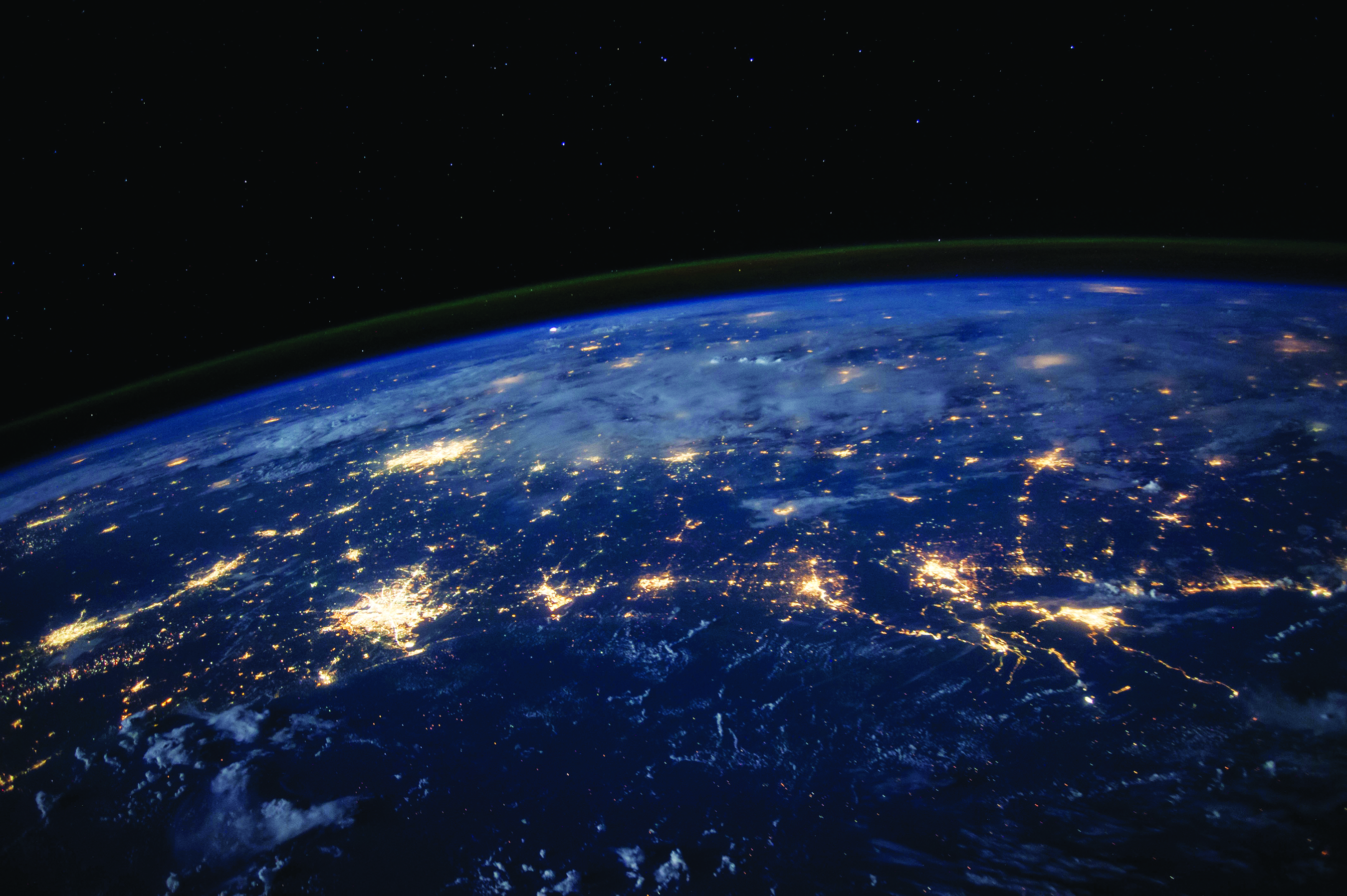 United States at night from space